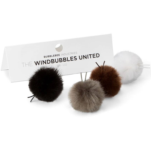Bubblebee Industries Windbubbles United Furry Windbubbles for Lav Mics 8 to 13mm (4-Pack)