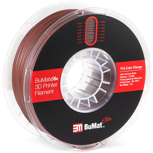 BuMat Elite 1.75mm Color Change by Temperature Filament (1kg, Brown to Green)