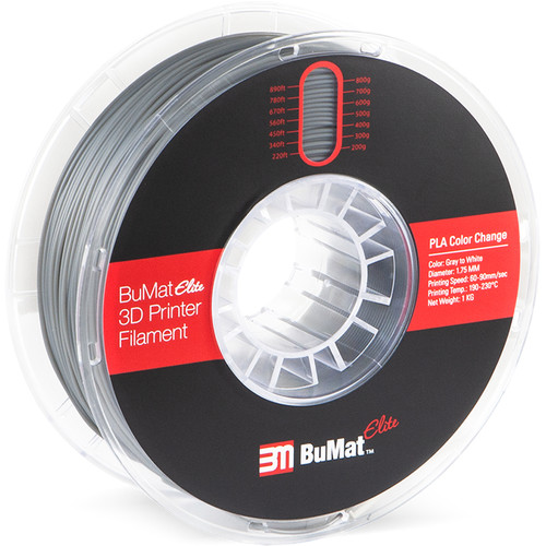BuMat Elite 1.75mm Color Change by Temperature Filament (1kg, Gray to White)