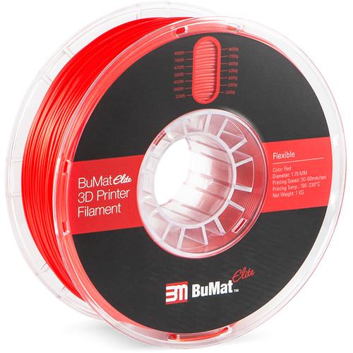 BuMat Elite 1.75mm Flexible Filament (1kg, Red)