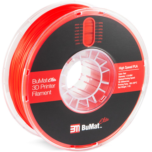 BuMat Elite 1.75mm High-Speed PLA Filament (1kg, Red 5C)