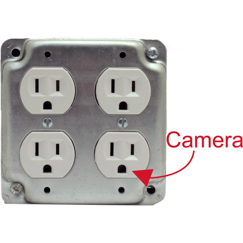 Bush Baby Functional Quad Receptacle with 1080p Covert Wi-Fi Camera