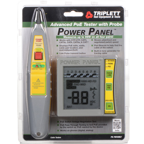 Byte Brothers POE1000ILT Tone Star Power Panel CAT5/6 DVM & Network/ PoE Tester with Lighted Probe