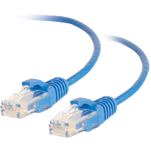 """C2G RJ45 Male to RJ45 Male Slim Cat 6 Patch Cable (6"""", Blue)"""