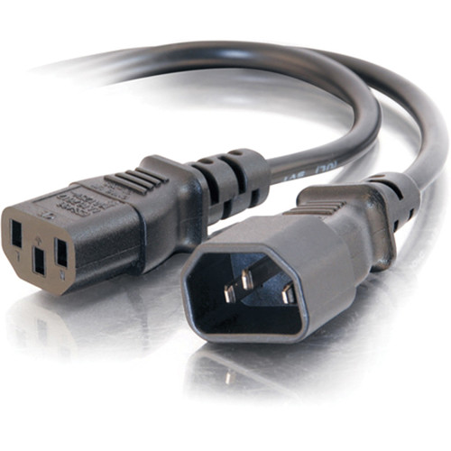 C2G 18 AWG Computer Power Extension Cord IEC C13 to IEC C14 (2')