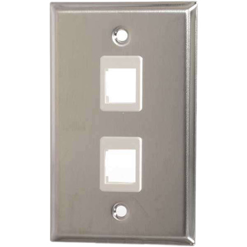 C2G Keystone Single-Gang Wall Plate (2-Port, Stainless Steel)