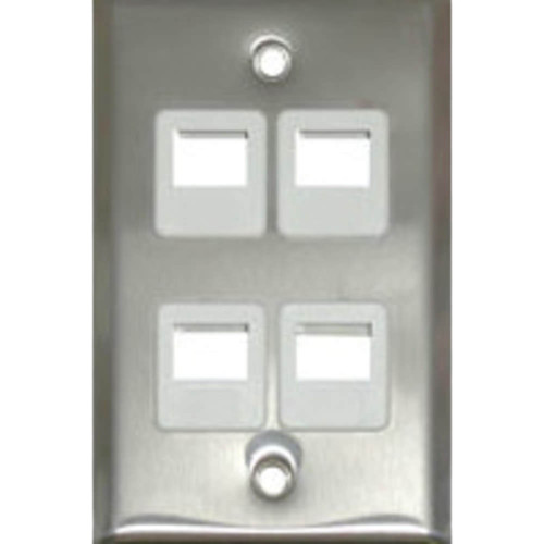 C2G Keystone Single-Gang Wall Plate (4-Port, Stainless Steel)