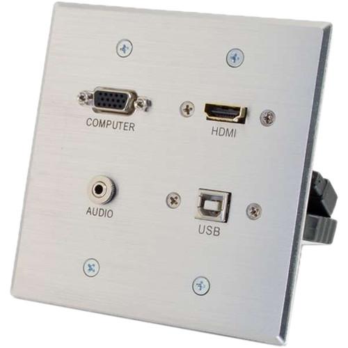 C2G HDMI, VGA, 3.5mm & USB Pass-Through Double-Gang Wall Plate (Aluminum)