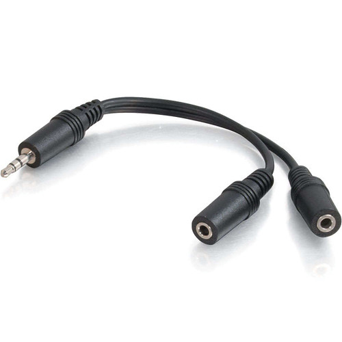 "C2G 1/8"" (3.5mm) TRS Stereo Male to Dual 1/8"" (3.5mm) TRS Stereo Female Y-Cable"