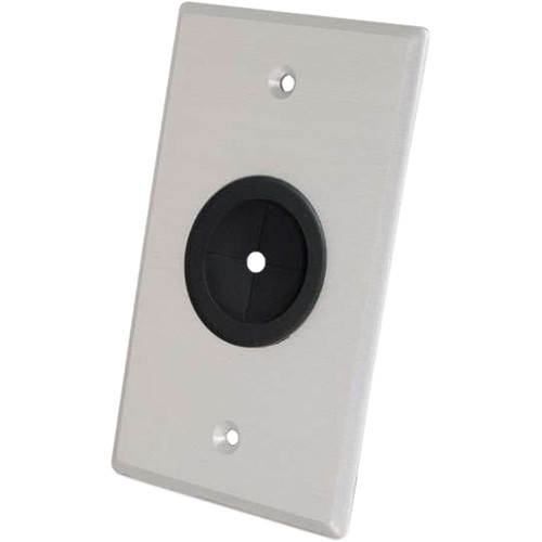 """C2G Decorative Single-Gang Wall Plate with 1"""" Grommet for Cable Feed-Through (Brushed Aluminum)"""