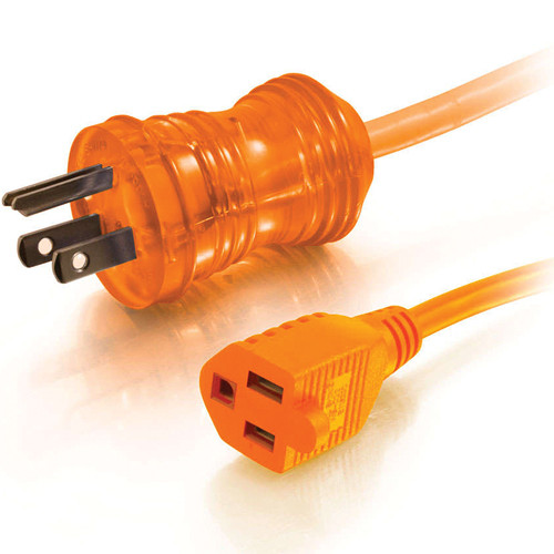 C2G 8' 16 AWG Hospital Grade Power Extension Cord (NEMA 5-15P to NEMA 5-15R, Orange)
