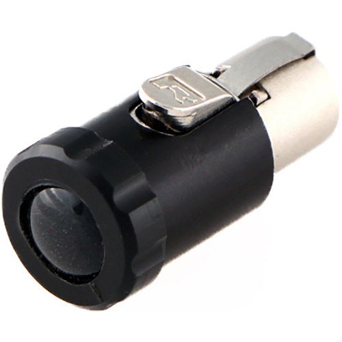 Cable Techniques Low-Profile Female TA5F Connector with 90-Degree Left Side-Exit (Black Polydome)