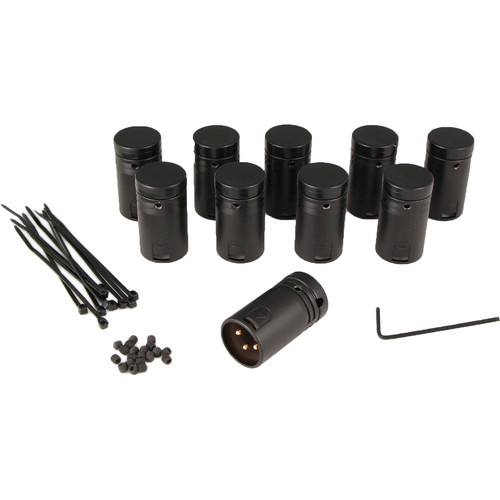 Cable Techniques CT-LPXLR-3M-10SET Low-Profile XLR 3-Pin Male Connector with Adjustable Side Cable-Exit (Black Cap)