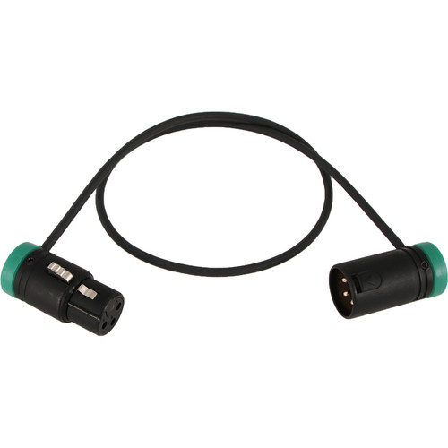 "Cable Techniques Low-Profile, 3-Pin XLR Female to 3-Pin XLR Male Adjustable-Angle Cable (Green Caps, 24"")"