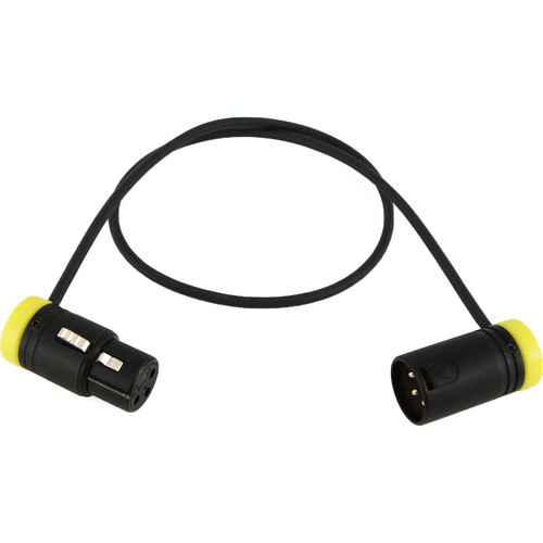 "Cable Techniques Low-Profile, 3-Pin XLR Female to 3-Pin XLR Male Adjustable-Angle Cable (Yellow Caps, 24"")"