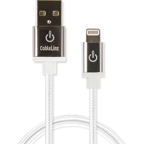 """Cablelinx Elite 36"""" Apple MFi Certified Lightning To USB-A Charge Sync Braided Cable (White Diamond)"""