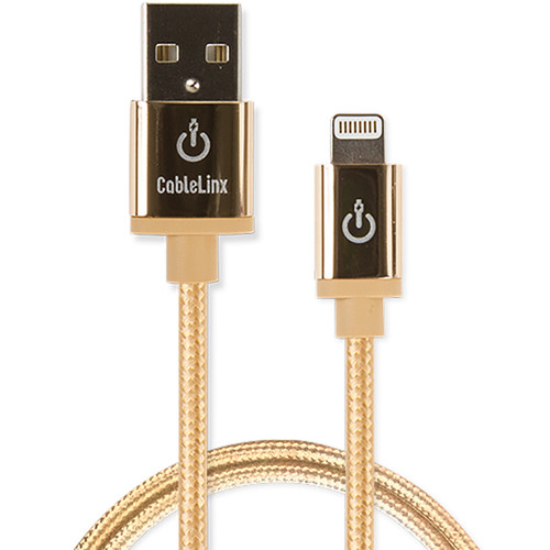 """Cablelinx Elite 36"""" Apple MFi Certified Lightning To USB-A Charge Sync Braided Cable (Gold Dust"""