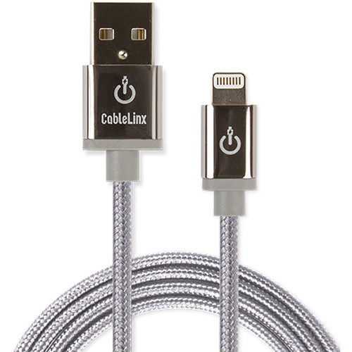 """Cablelinx Elite 72"""" Apple MFi Certified Lightning To USB-A Charge Sync Braided Cable (Dove Gray)"""