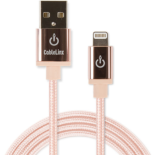 "Cablelinx Elite 72"" Apple MFi Certified Lightning To USB-A Charge Sync Braided Cable (Rose Gold)"