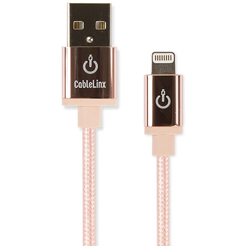 """Cablelinx Elite 8"""" Apple MFi Certified Lightning To USB-A Charge Sync Braided Cable (Rose Gold)"""