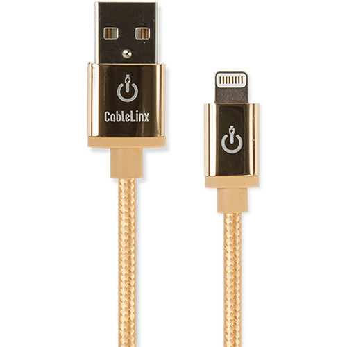 """Cablelinx Elite 8"""" Apple MFi Certified Lightning To USB-A Charge Sync Braided Cable (Gold Dust)"""