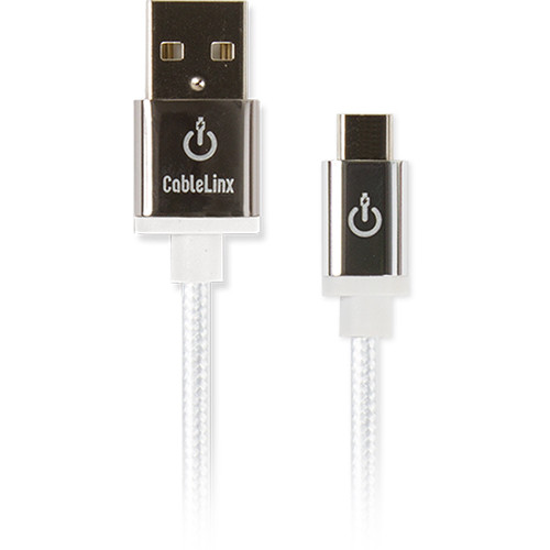 """Cablelinx Elite Micro-USB to USB Type-A Braided Cable (8"""", White)"""