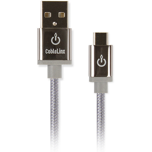 """Cablelinx Elite Micro-USB to USB Type-A Braided Cable (8"""", Dove Gray)"""