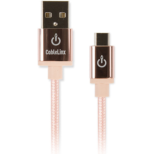"Cablelinx Elite Micro-USB to USB Type-A Braided Cable (8"", Rose Gold)"