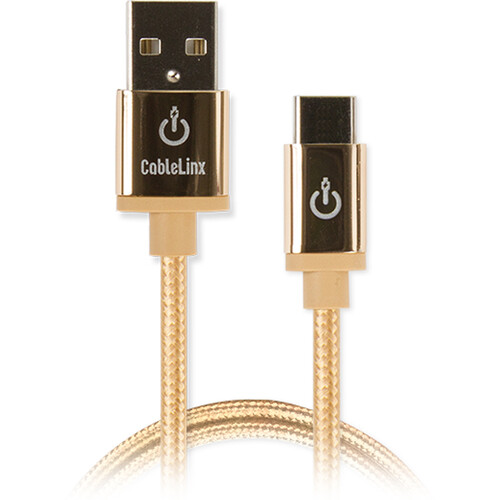 """Cablelinx Elite USB Type-C to USB Type-A Braided Cable (36"""", Gold Dust)"""