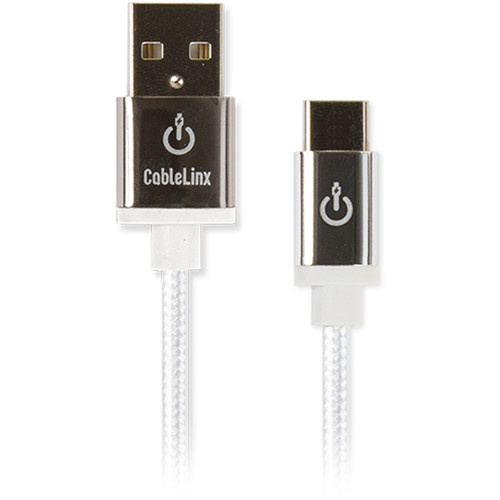 "Cablelinx Elite USB Type-C to USB Type-A Braided Cable (72"", White)"