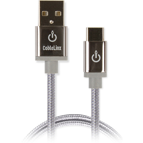 """Cablelinx Elite USB Type-C to USB Type-A Braided Cable (8"""", Dove Gray)"""