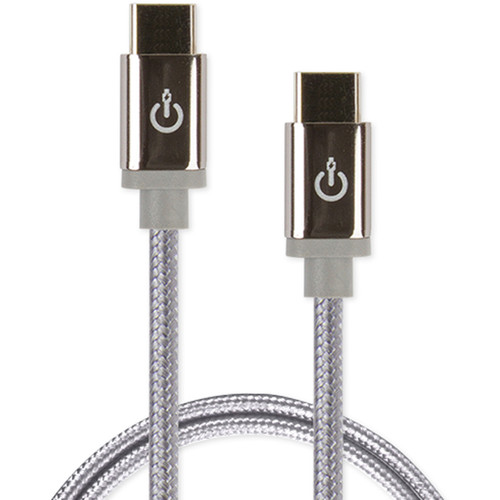 """Cablelinx Elite USB Type-C to USB Type-C Braided Cable (36"""", Dove Gray)"""