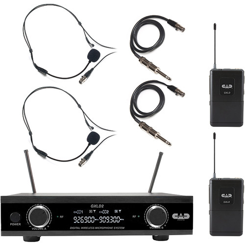 CAD GXLD2BB Digital Dual-Channel Wireless Microphone System with Two Bodypack Transmitters (AH: 902.9 to 915.5 MHz)