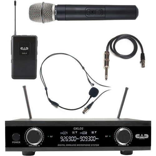 CAD GXLD2HB Dual-Channel Digital Wireless Microphone System with Handheld, Headset, and Guitar Cable (AI: 909.3 to 926.8 MHz)