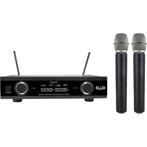 CAD GXLD2HH Digital Dual-Channel Wireless Microphone System with Two Handheld Transmitters (AI: 909.3 to 926.8 MHz)