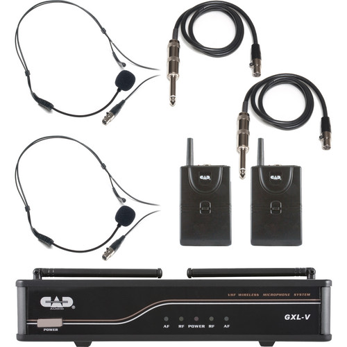 CAD VHF Dual Channel 2 Bodypack Wireless Microphone and Guitar System (CH: J)