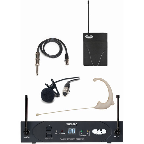 CAD StageSelect WX1610 Wireless Bodypack System with Lavalier, Earworn Mic, and Guitar Cable (F: 638 to 662 MHz)