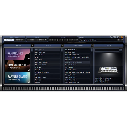Cakewalk Rapture Pro - Virtual Performance Synthesizer (Download)