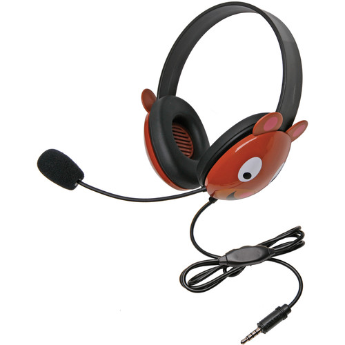 Califone 2810-TBE Listening First Animal-Themed Headset (3.5mm To Go Plug, Bear)