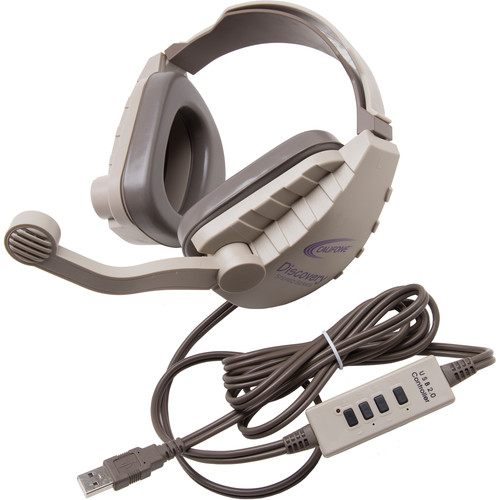 Califone DS-8V-USB Discovery Stereo Binaural Headset with USB Plug (Gray & Beige)