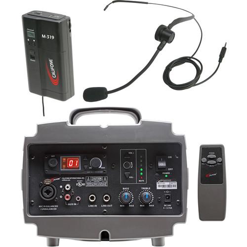Califone PA329M Wireless PresentationPro PA System with M319 Beltpack Transmitter & HBM319 Headset Microphone