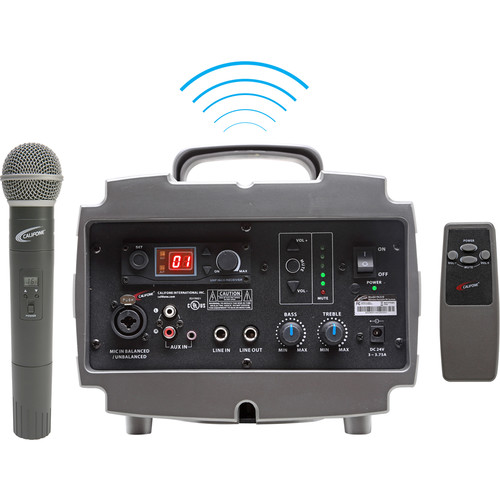Califone PA329Q Wireless PresentationPro PA System with Q319 Handheld Wireless Microphone