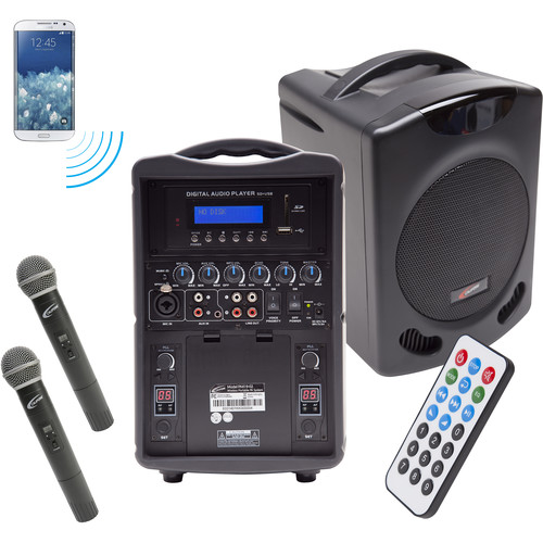 Califone PA419Q2 Portable Bluetooth PA with 2 Handheld Wireless Microphones