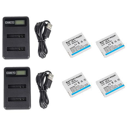 CAME-TV 4 Pcs Headset Batteries With 2 Chargers