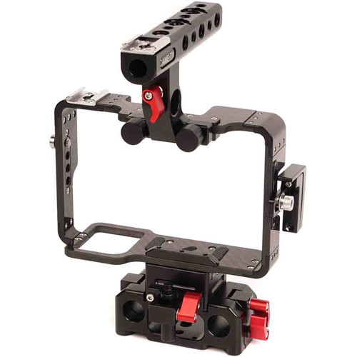 CAME-TV Carbon Fiber Cage with 15mm Rod Base for Sony a7 Series (Black)