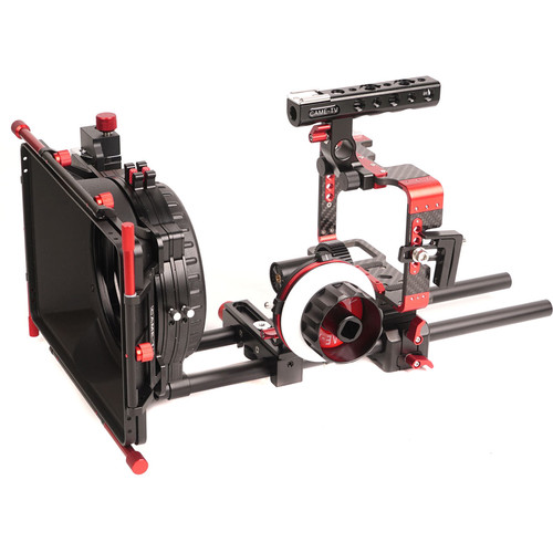 CAME-TV Carbon Fiber Rig Mattebox Follow Focus Kit for Sony a7 Series Cameras (Red)