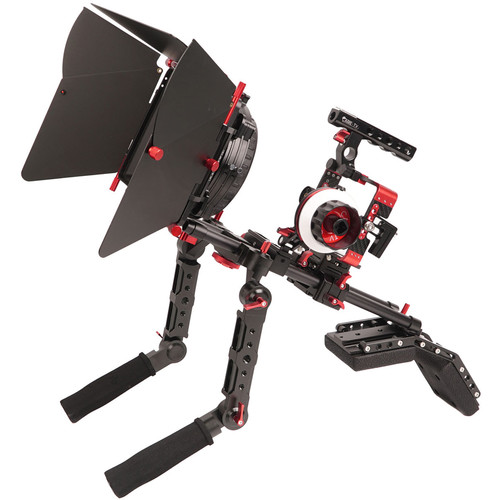 CAME-TV Carbon Fiber Rig Mattebox Shoulder Support Kit for Sony a7 Series Cameras (Red)
