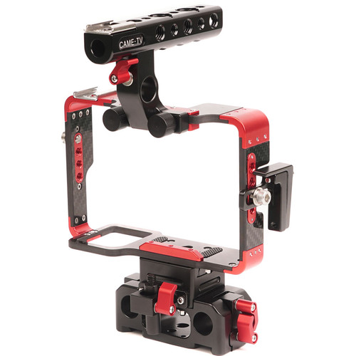 CAME-TV Carbon Fiber Cage with 15mm Rod Base for Sony a7 Series (Red)