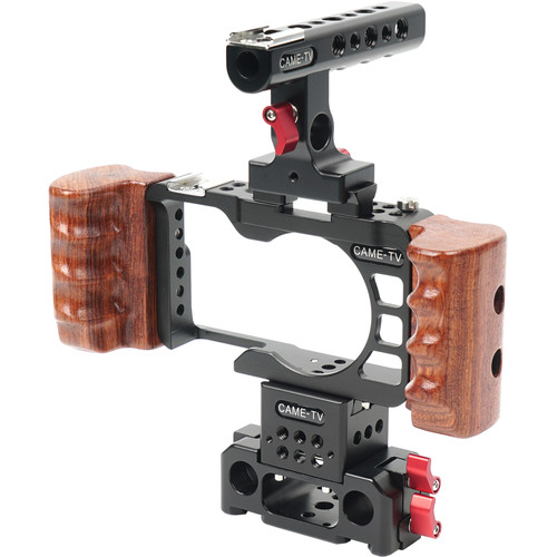CAME-TV Rig with Wooden Handles for Sony a6300 Camera