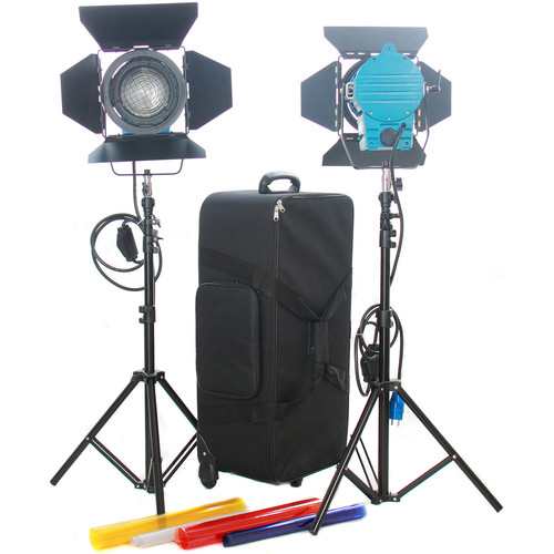 CAME-TV 1000W Fresnel Tungsten Video Camera Spot Light Kit with Dimmers